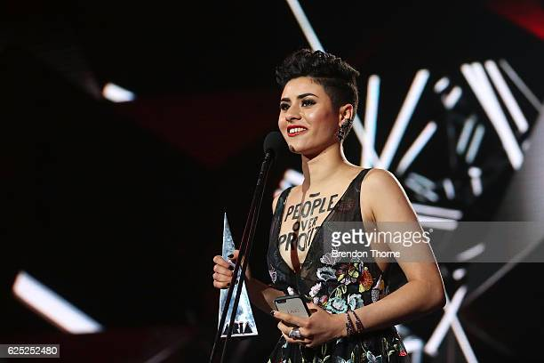 Montaigne accepts an ARIA for Breakthrough Artist during the 30th Annual ARIA Awards 2016 at The Star on November 23 2016 in Sydney Australia