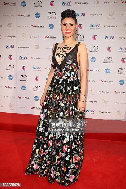 Montaigne arrives for the 30th Annual ARIA Awards 2016 at The Star on November 23 2016 in Sydney Australia