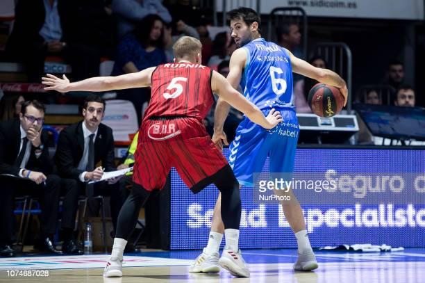 Montakit Fuenlabrada Luka Rupnik and San Pablo Burgos Bruno Fitipaldo during Liga Endesa match between Montakit Fuenlabrada and San Pablo Burgos at...