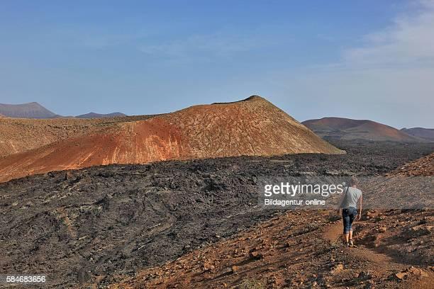 Montana area Calderata extinct volcanic crater Timanfaya National Park Parque Nacional de Timanfaya Monta̱as del Fuego Fire Mountains Lanzarote...
