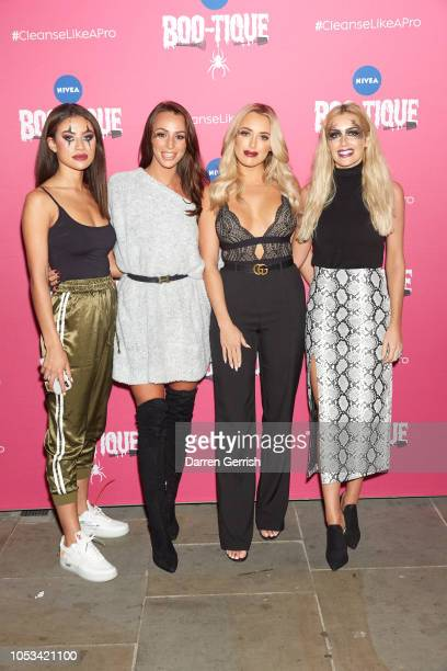 Montana Brown Amber Dowding Amber Turner and Laura Anderson attend NIVEA BOOtique Halloween Pop Up Launch Party on October 25 2018 in London England