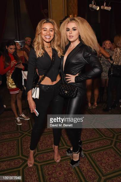 Montana Brown and Tallia Storm attend the Ethical Designer Showcase featuring Oh Polly during London Fashion Week February 2020 at The Royal...