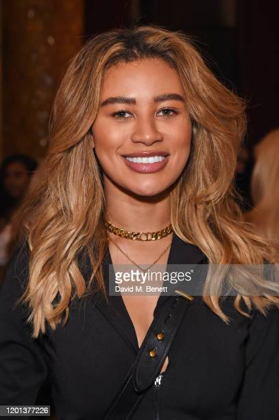 Montana Brown attends the Ethical Designer Showcase featuring Oh Polly during London Fashion Week February 2020 at The Royal Horseguards on February...