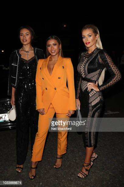 Montana Brown Kaz Crossley and Laura Anderson seen attending Julian Macdonald during London Fashion Week September 2018 on September 15 2018 in...