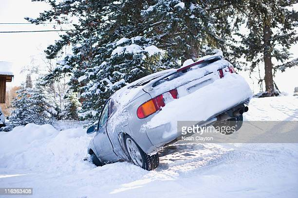 USA, Montana, Car buried in snow