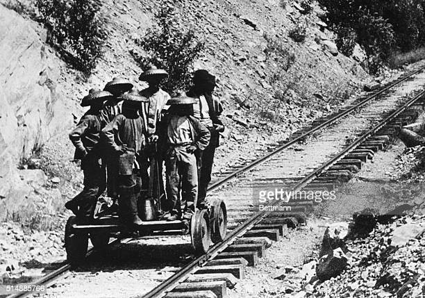 Chinese laborers during building of Northern Pacific Railroad 1500 Chinese helped to complete the job Photograph taken in Western Montana Rockies...