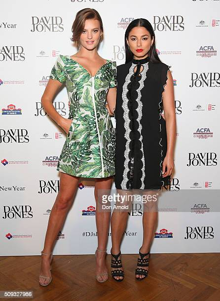 Montana Cox and Jessica Gomes arrive ahead of the Lunar New Year Designer Collection Launch Party at David Jones Elizabeth Street Store on February...