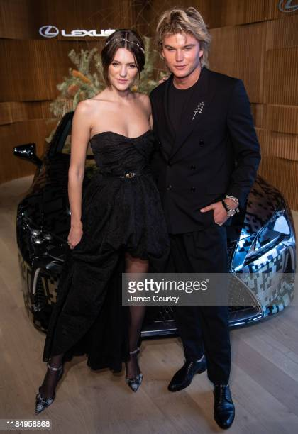 Montana Cox and Jordan Barrett attend the Lexus Marquee during Derby Day at Flemington Racecourse on November 02 2019 in Melbourne Australia