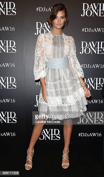Montana Cox arrives ahead of the David Jones Autumn/Winter 2016 Fashion Launch at David Jones Elizabeth Street Store on February 3 2016 in Sydney...