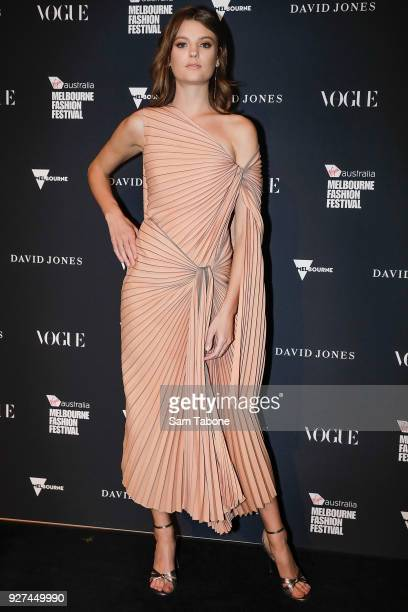 Montana Cox arrives ahead of the VAMFF 2018 Gala Runway presented by David Jones on March 5 2018 in Melbourne Australia