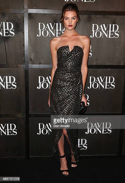 Montana Cox arrives at the David Jones A/W 2014 Collection Launch at the David Jones Elizabeth Street Store on January 29 2014 in Sydney Australia