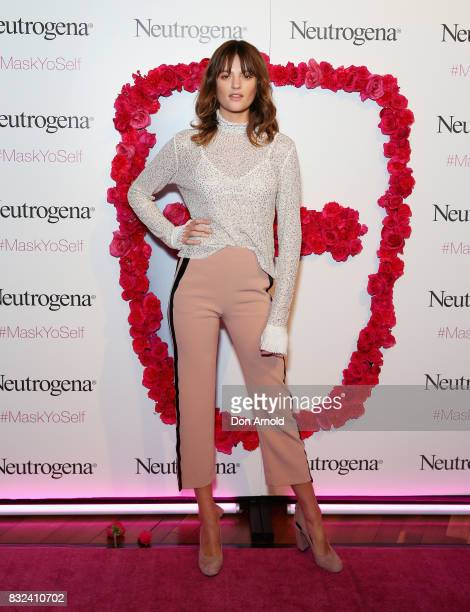 Montana Cox attends the Neutrogena Visibly Clear Light Therapy Acne Mask Launch at Museum of Contemporary Art on August 16 2017 in Sydney Australia