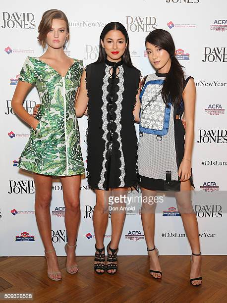 Montana Cox Jessica Gomes and Natasha Liu Bordizzo arrive ahead of the Lunar New Year Designer Collection Launch Party at David Jones Elizabeth...
