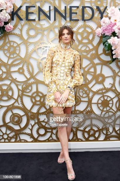 Montana Cox poses at the Kennedy Marquee on Oaks Day at Flemington Racecourse on November 08 2018 in Melbourne Australia