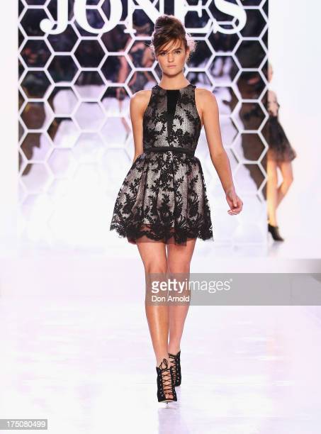 Montana Cox showcases designs by Dion Lee at the David Jones Spring/Summer 2013 Collection Launch at David Jones Elizabeth Street on July 31 2013 in...