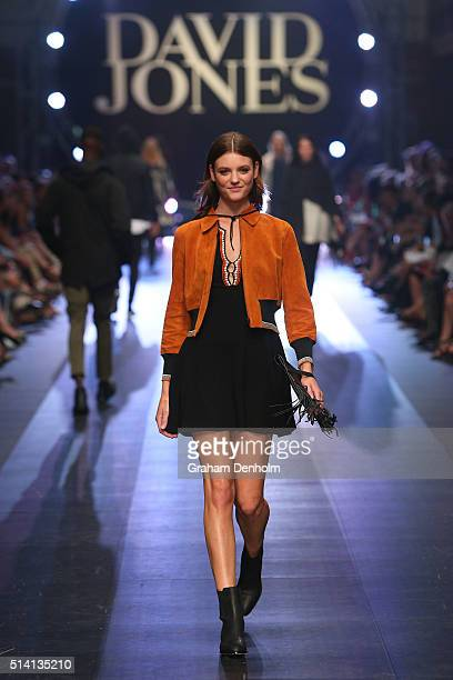Montana Cox showcases designs by Sandro on the runway during the David Jones opening event as part of Virgin Australia Melbourne Fashion Festival on...