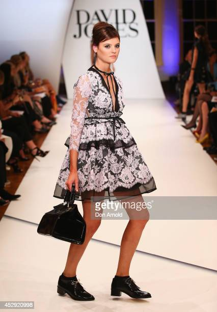 Montana Cox showcases designs by Zimmerman at the David Jones Spring/Summer 2014 Collection Launch at David Jones Elizabeth Street Store on July 30...