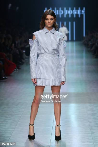 Montana Cox showcases designs during VAMFF Runway Gala Presented by David Jones on March 5 2018 in Melbourne Australia