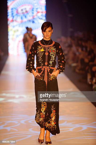 Montana Cox wearing Romance Was Born at the opening of the 2015 Melbourne Fashion Festival on March 14 2015 in Melbourne Australia