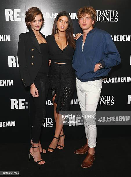 Montana CoxTahnee Atkinson and Jordan Barrett pose at the RE Denim for David Jones launch party at St James Station on August 29 2015 in Sydney...