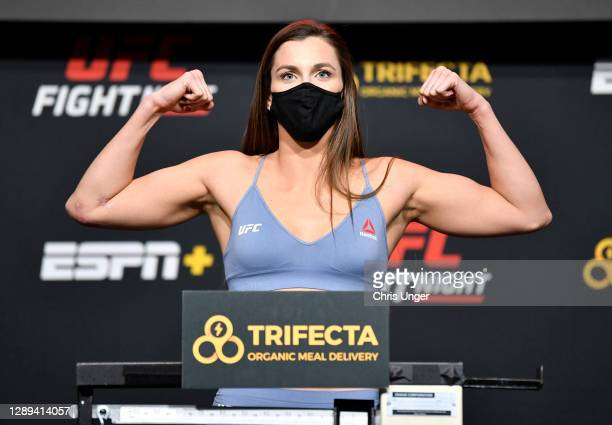 Montana De La Rosa poses on the scale during the UFC Fight Night weigh-in at UFC APEX on December 04, 2020 in Las Vegas, Nevada.