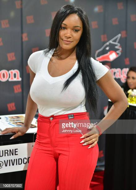 Montana Fishburne attends the EXXXOTICA Expo 2018 at Miami Airport Convention Center on July 21 2018 in Miami Florida