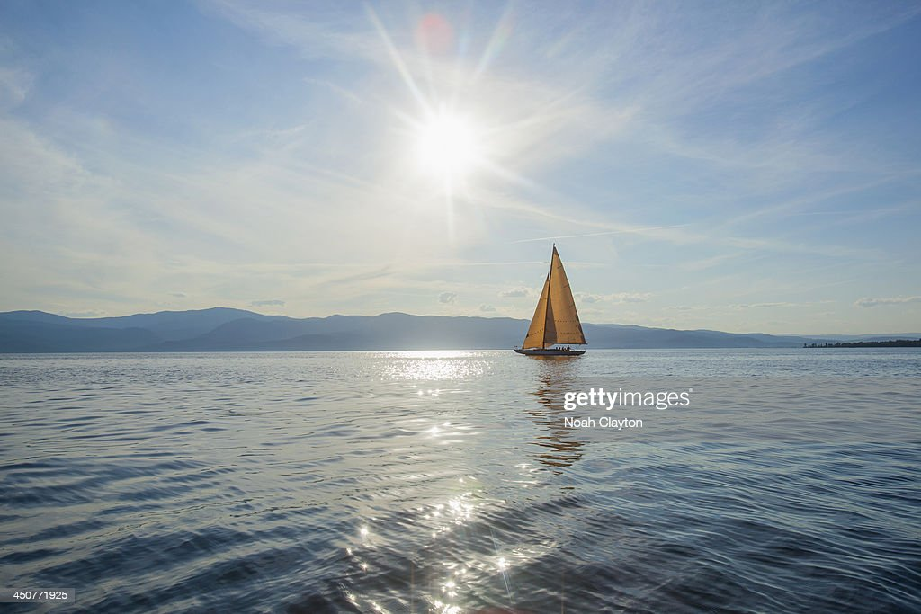 USA, Montana, Flathead Lake, Tranquil scene with sailboat : Stock Photo