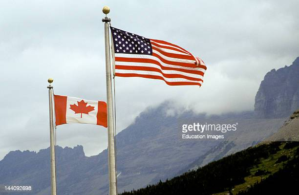 Montana Glacier National Park Logan Pass Visitor Center Canadian And United States Flags