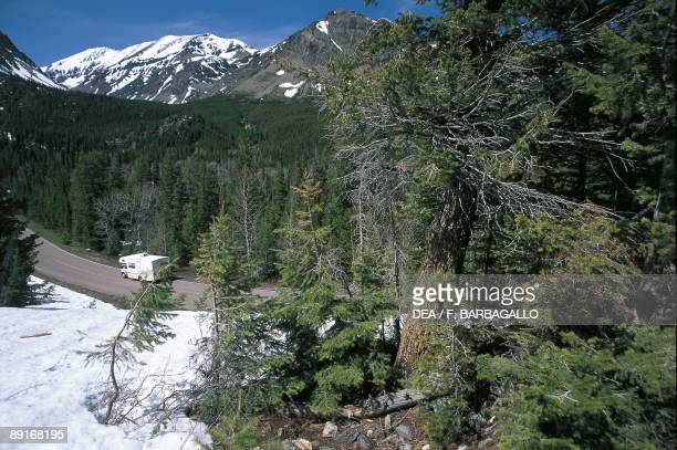 USA Montana Glacier National Park Road leading to Two Medicine Lake