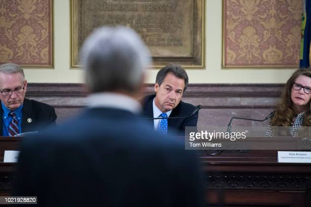 Montana Gov Steve Bullock attends a meeting of the Board of Land Commissioners in the State Capitol building in Helena on August 20 2018 Montana...