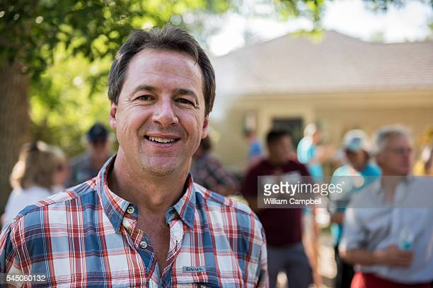 Montana Governor Steve Bullock campaigning at a democrats gathering in Livingston Montana on July 2 2016 Governor Bullock is running for his second...
