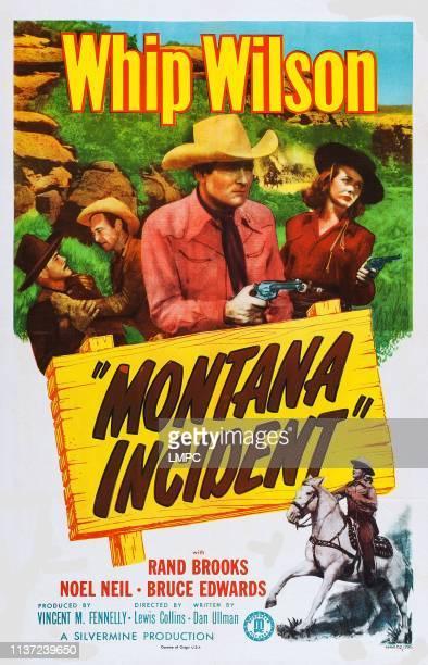 Montana Incident, poster, l-r: Whip Wilson, Noel Neill on poster art, 1952.