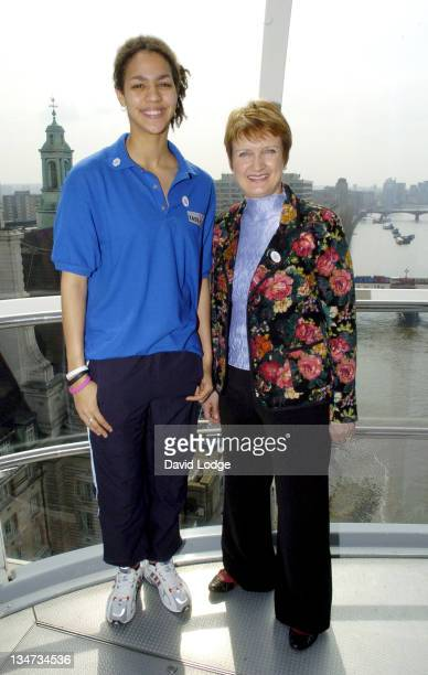 Montana Jones and Tessa Jowell during Youngsters Win Olympic Funding Photocall at London Eye in London Great Britain