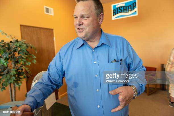 Montana Senator Jon Tester meets with constituents and supporters at the Democratic Party office in Livingston MT on July 21 2018 Tester is running...