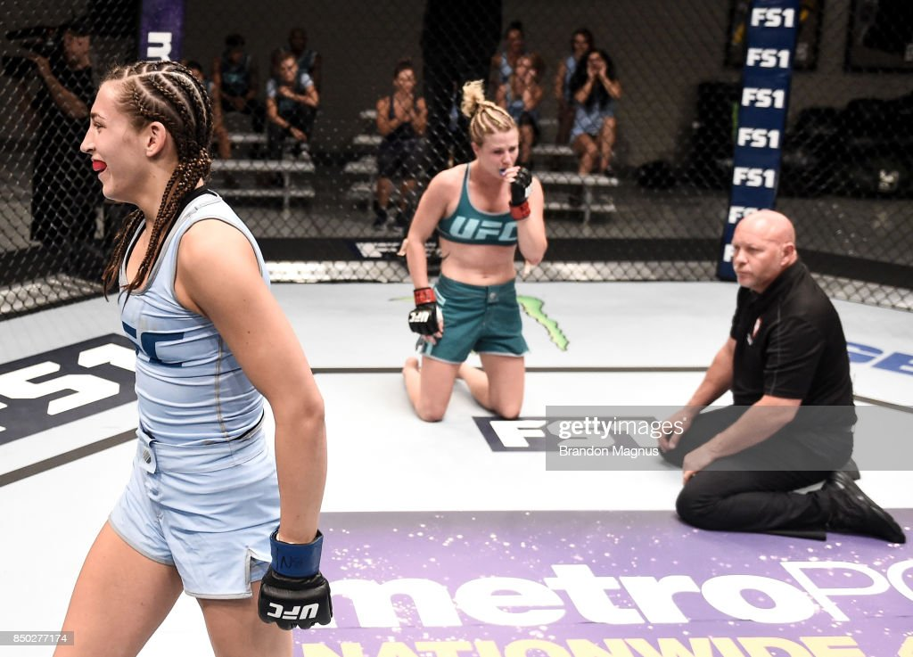 Montana Stewart celebrates her submission victory over Ariel Beck during the filming of The Ultimate Fighter: A New World Champion at the UFC TUF Gym on July 27, 2017 in Las Vegas, Nevada.