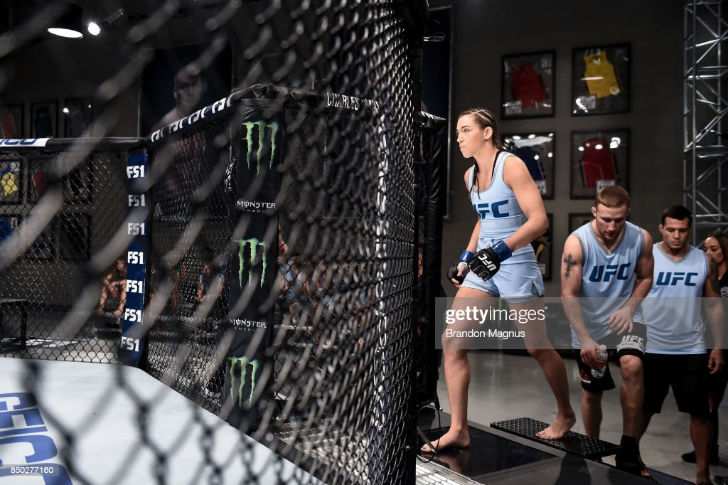 Montana Stewart enters the Octagon before facing Ariel Beck during the filming of The Ultimate Fighter: A New World Champion at the UFC TUF Gym on July 27, 2017 in Las Vegas, Nevada.