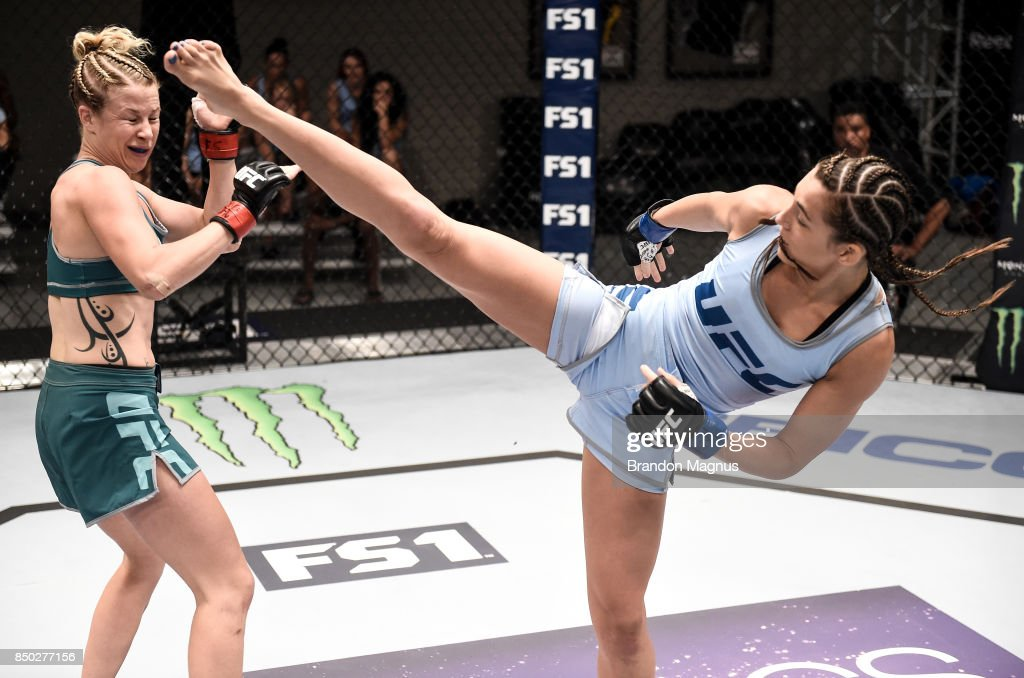 Montana Stewart kicks Ariel Beck during the filming of The Ultimate Fighter: A New World Champion at the UFC TUF Gym on July 27, 2017 in Las Vegas, Nevada.