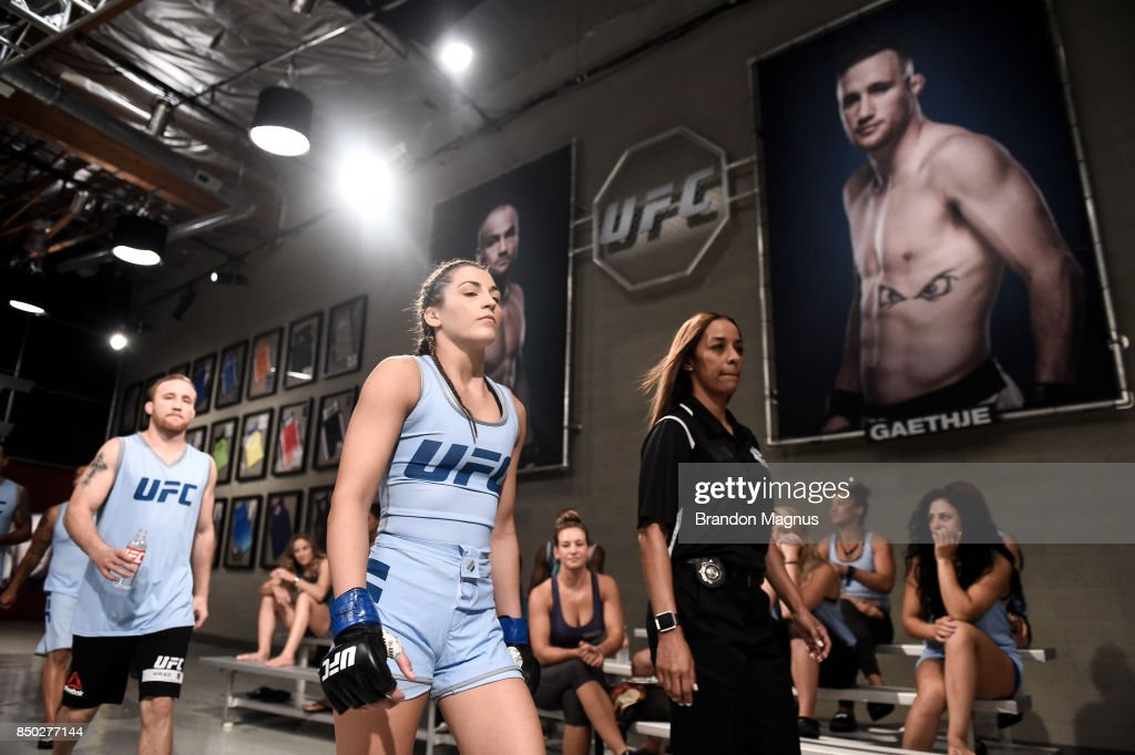 Montana Stewart prepares to enter the Octagon before facing Ariel Beck during the filming of The Ultimate Fighter: A New World Champion at the UFC TUF Gym on July 27, 2017 in Las Vegas, Nevada.