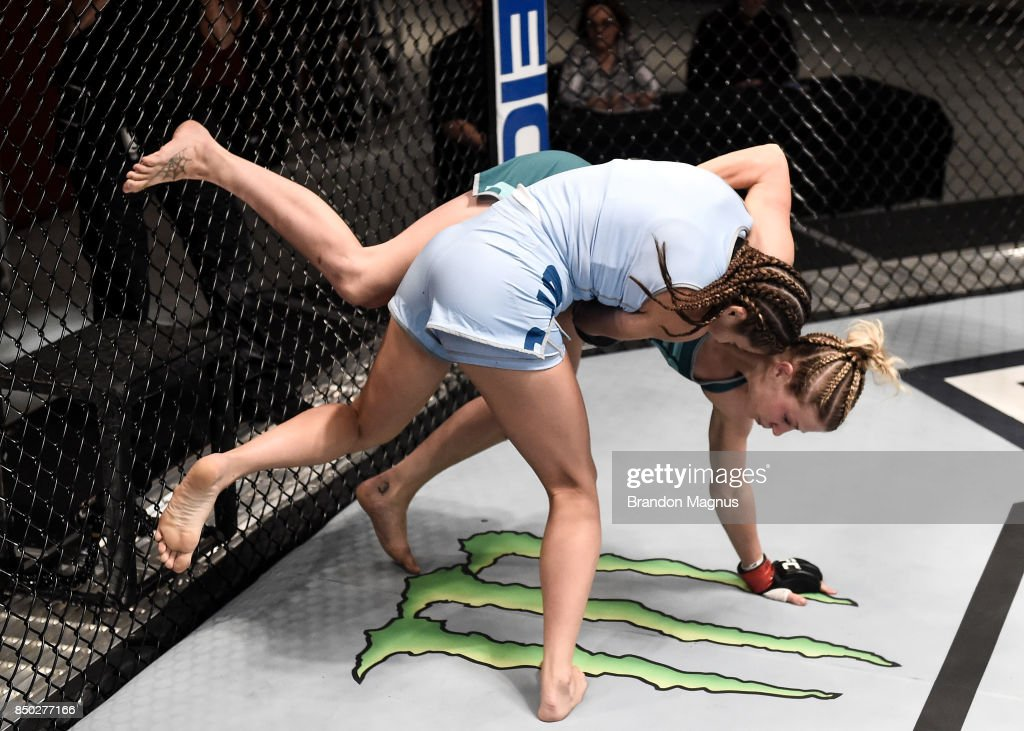 Montana Stewart takes down Ariel Beck during the filming of The Ultimate Fighter: A New World Champion at the UFC TUF Gym on July 27, 2017 in Las Vegas, Nevada.