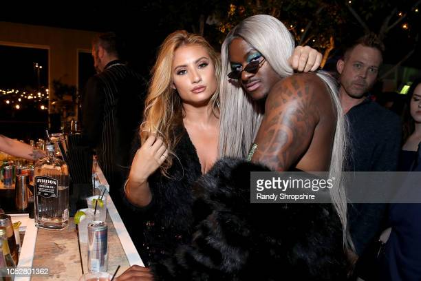 Montana Tucker and BlameItOnKway attend the official 2018 Streamys After Party at SkyBar at the Mondrian Los Angeles on October 22 2018 in West...