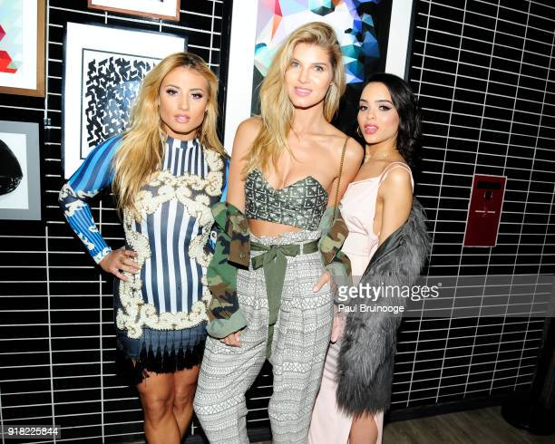 Montana Tucker Ashley Haas and Lisa Ramos attend The Cinema Society with Ravage Wines Synchrony host the after party for Marvel Studios' Black...