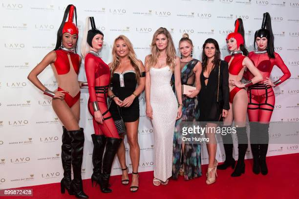 Montana Tucker Ashley Haas Veronika Dash and Einbar Bornstein attend the LAVO Singapore Opening Launch Party at LAVO Singapore on December 30 2017 in...