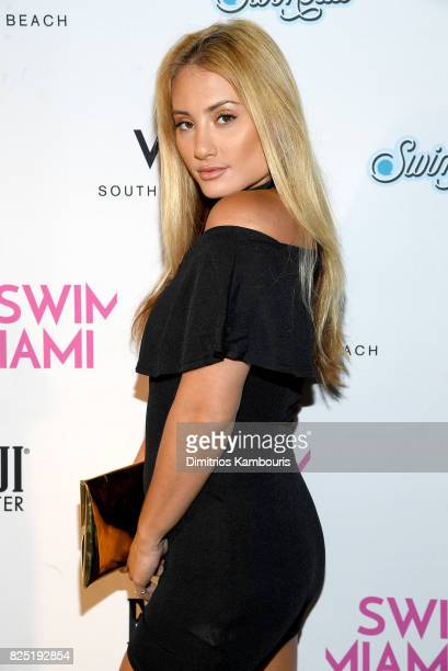 Montana Tucker attends the SWIMMIAMI Sports Illustrated Swimsuit 2018 Collection at WET Deck at W South Beach on July 22 2017 in Miami Beach Florida