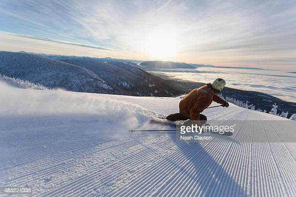 usa, montana, whitefish, man skiing - adults only photos stock pictures, royalty-free photos & images