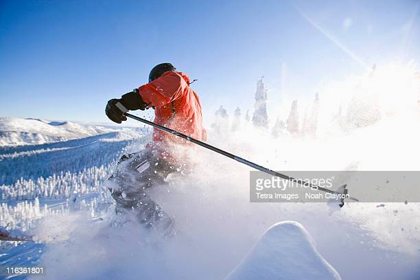 USA, Montana, Whitefish, skier on slope