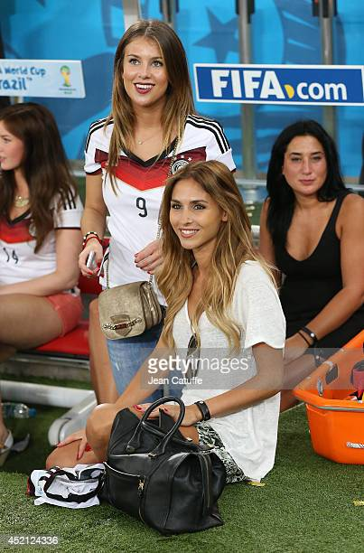 Montana Yorke girlfriend of Andre Schuerrle and AnnKathrin Brommel girlfriend of Mario Gotze celebrate the victory after the 2014 FIFA World Cup...