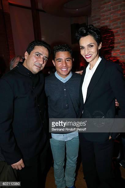 Montasara Alaya actor Samy Seghir and Farida Khelfa Seydoux attend the Carla Sozzani Photo Exhibition at Azzedine Alaia Gallery on November 9 2016 in...