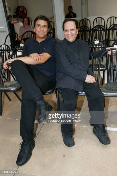Montasara Alaya and Azzedine Alaia attend the Azzedine Alaia Fashion Show as part of Haute Couture Paris Fashion Week Held at Azzedine Alaia Gallery...