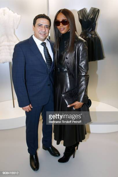 Montassar Alaya and Model Naomi Campbell attend the 'Azzedine Alaia Je Suis Couturier' Exhibition as part of Paris Fashion Week Held at 'Azzedine...