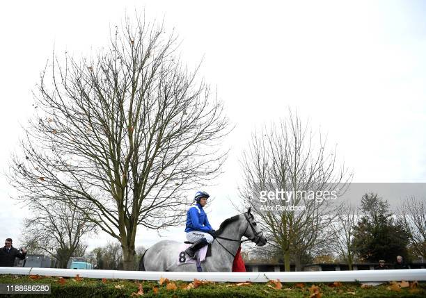 Montatham ridden by Jim Crowley makes its way to the start of the Matchbook Betting Podcast Handicap at Kempton Park on November 19, 2019 in Sunbury,...